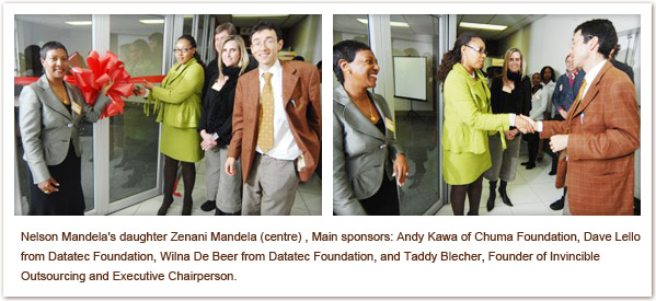 Nelson Mandela's daughter Zenani Mandela (centre) , Main sponsors: Andy Kawa of Chuma Foundation, Dave Lello from Datatec Foundation, Wilna De Beer from Datatec Foundation, and Taddy Blecher, Founder of Invincible Outsourcing and Executive Chairperson.